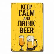 Placa Decorativa Keep Calm and Drink Beer