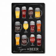 Placa Decorativa Tipos de Cerveja