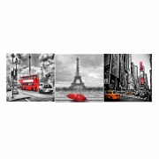 Quadro Decorativo Mosaico Paris, Londres e New York 60x180 cm