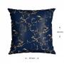 Capa para Almofada 43x43 cm Silk Home Belchior Azul Marinho e Detalhes em Dourado