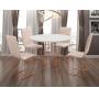 Conjunto Sala de Jantar Rubi Branco com 4 Cadeiras Estrutura Metal Cobre