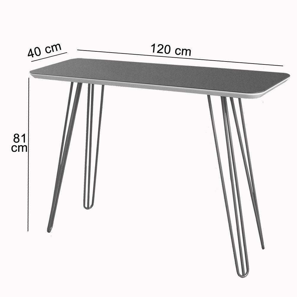 Aparador Decorativo Canto Copo Pé Metálico Preto 1,20 M