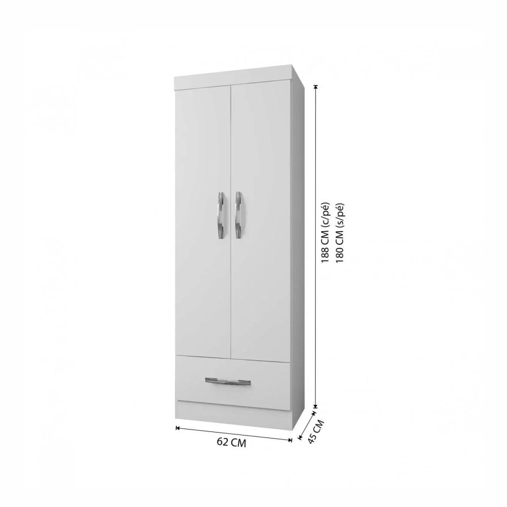 Armário Multiuso 2 Portas 1 Gaveta Prisma Arte Móveis Branco