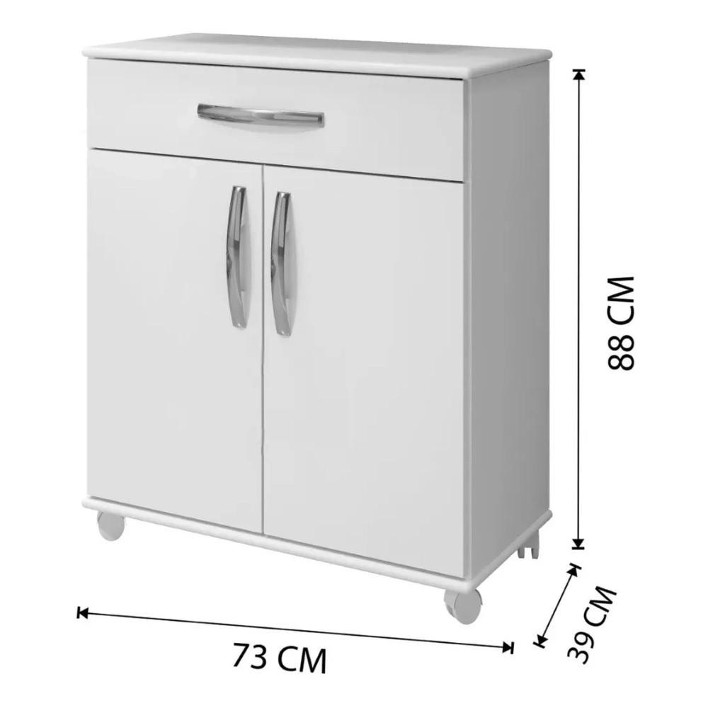 Balcão de Cozinha 2 Portas 1 Gaveta Londrina Arte Móveis Branco