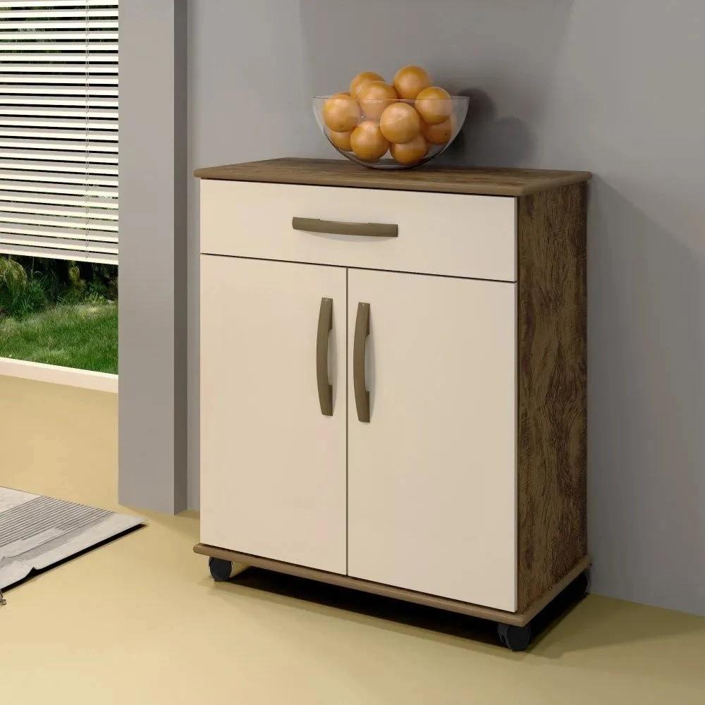 Balcão de Cozinha 2 Portas 1 Gaveta Londrina Arte Móveis Ipê/Off White