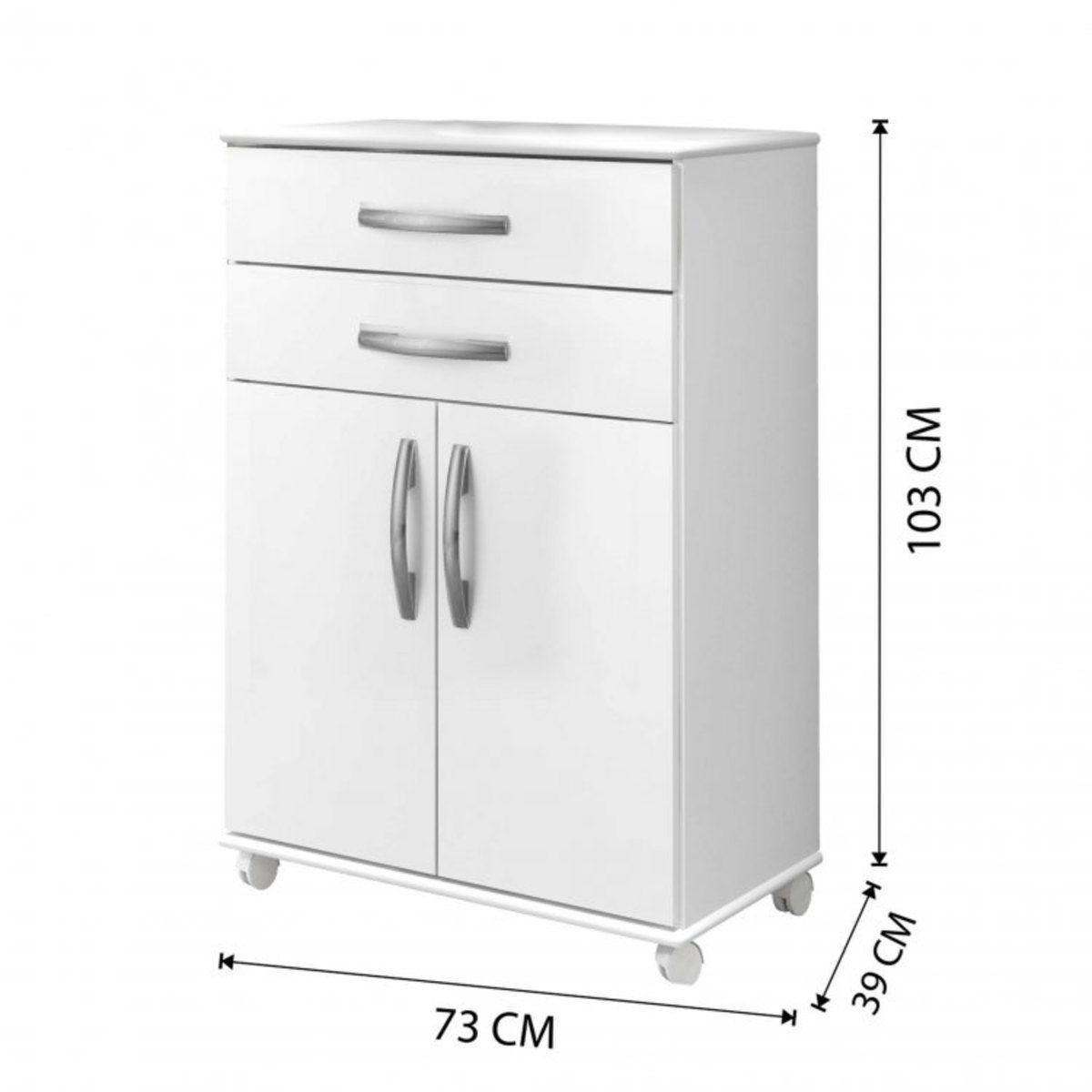 Balcão de Cozinha 2 Portas 2 Gavetas Mônaco Arte Móveis Branco