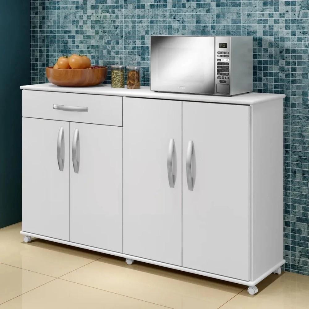 Balcão de Cozinha 4 Portas 1 Gaveta Campinas Arte Móveis Branco
