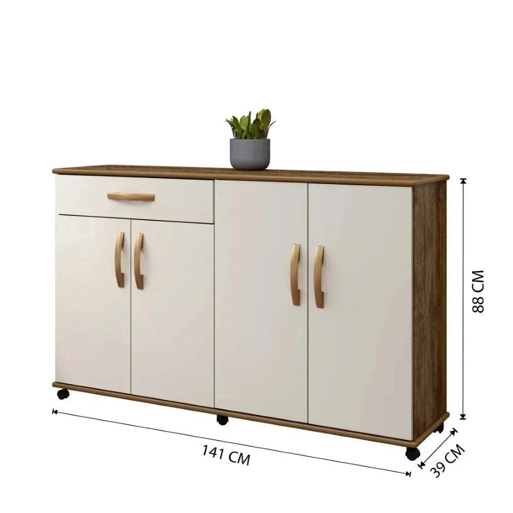 Balcão de Cozinha 4 Portas 1 Gaveta Campinas Arte Móveis Ipê/Off White