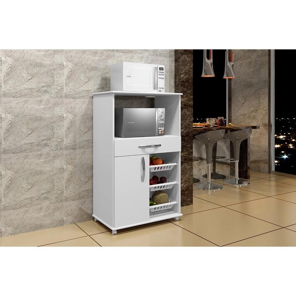 Balcão de Cozinha com Fruteira 1 Porta 1 Gaveta Fortaleza Arte Móveis Branco