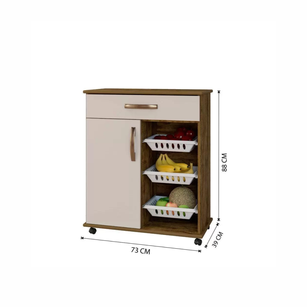 Balcão de Cozinha com Fruteira 1 Portas 1 Gaveta Goiania Arte Móveis