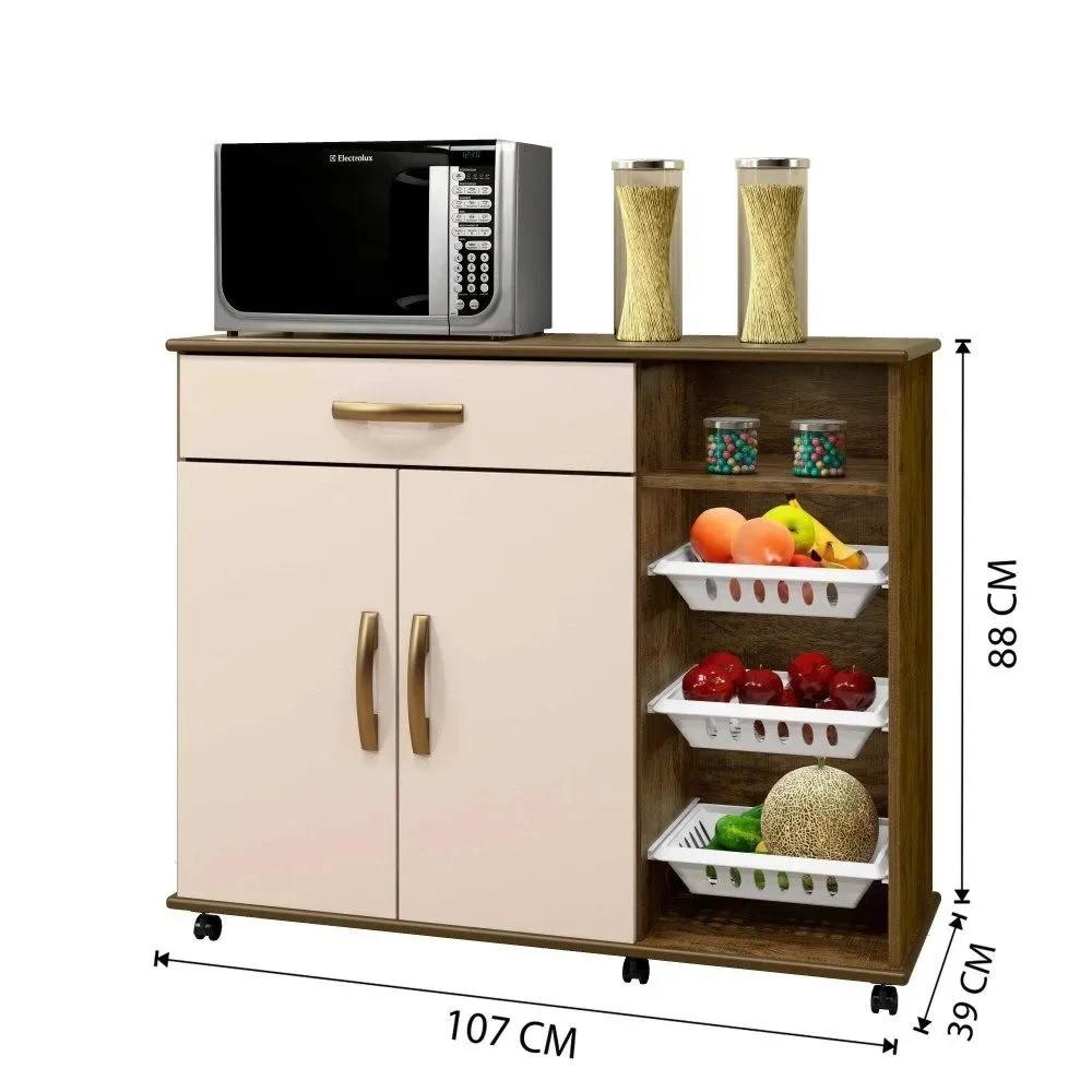 Balcão de Cozinha com Fruteira 2 Portas 1 Gaveta Salinas Arte Móveis Ipê/Off White