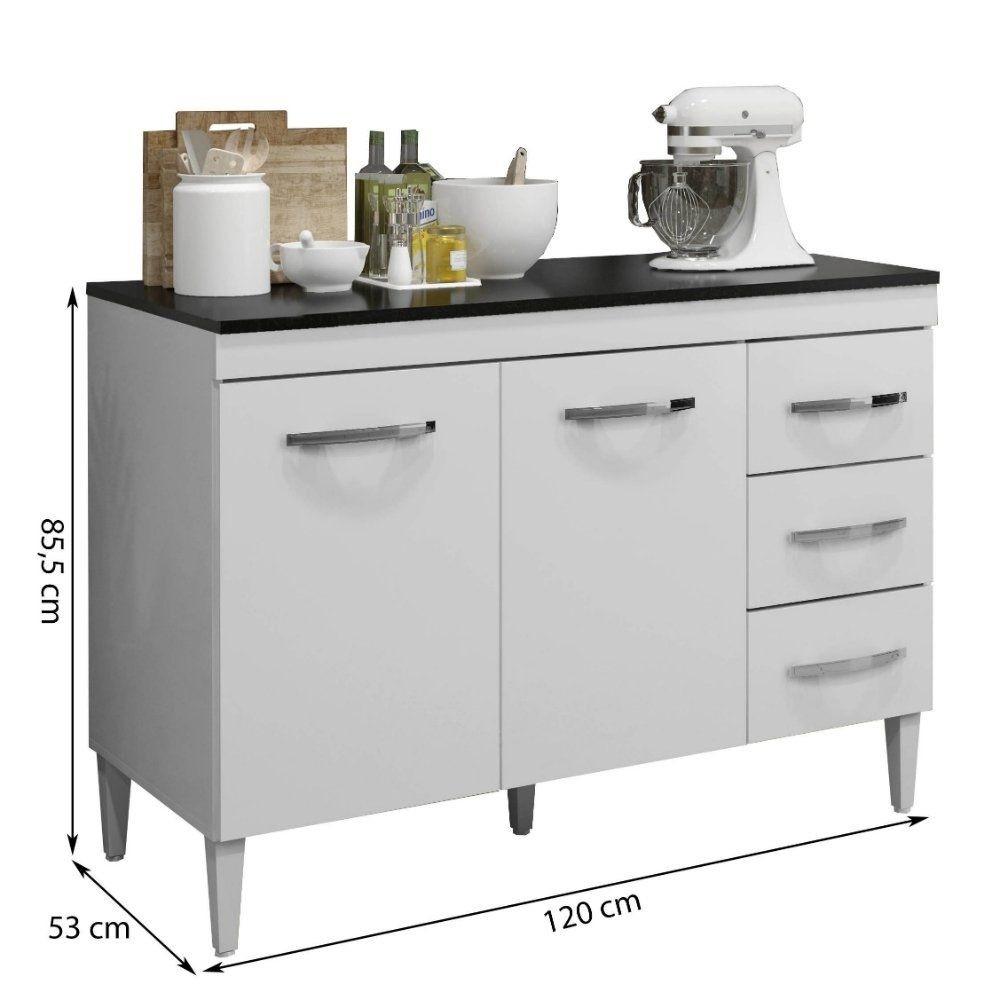 Balcão de Cozinha com Tampo 2 Portas 3 Gavetas Virtus Kaiki Móveis Branco