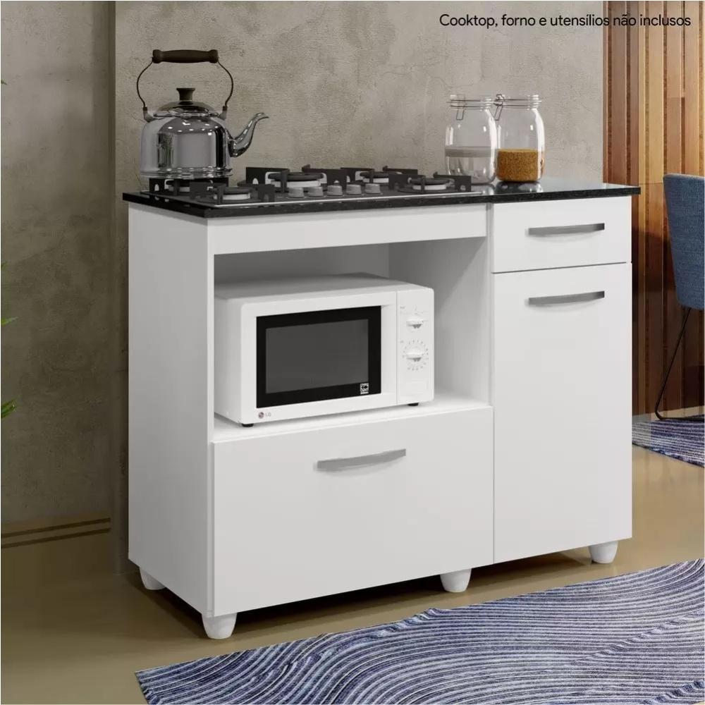 Balcão para Cooktop 4 Bocas 2 Portas 1 Gaveta Kaiki Móveis Violeta Branco