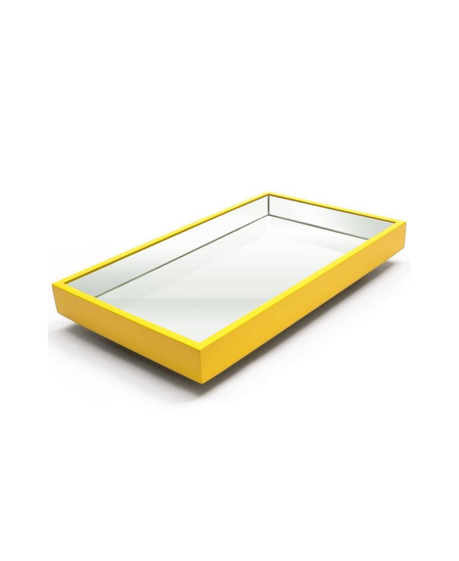 Bandeja Espelhada Laqueada Flutuante Amarela