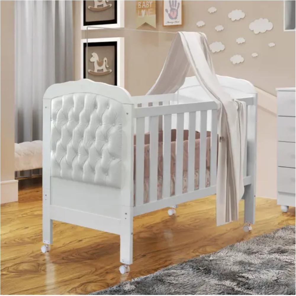 Berço Mini Cama Allegra Capitone II Tigus Baby Branco
