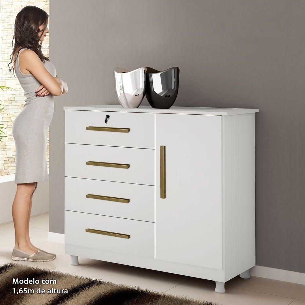Cômoda Elegance 4 Gavetas Kaiki Móveis Branco