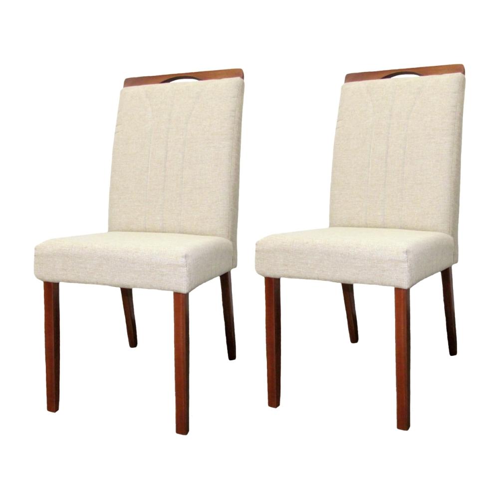 Conjunto 2 Cadeira para Mesa de Jantar Milão Linho Bege