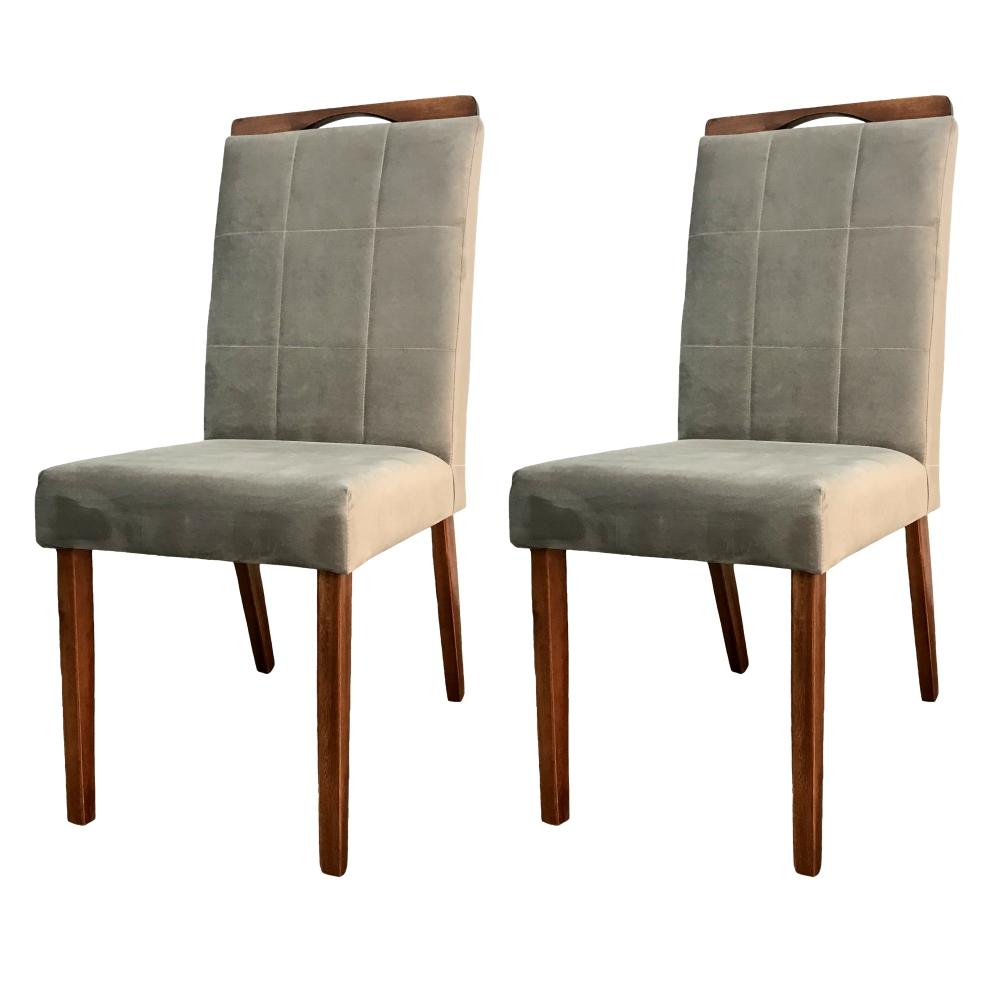 Conjunto 2 Cadeira para Mesa de Jantar Paris Veludo Cinza