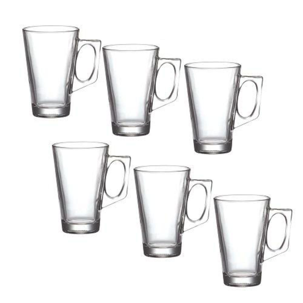 Conjunto 6 Copos Vidro com Alça 225 ml