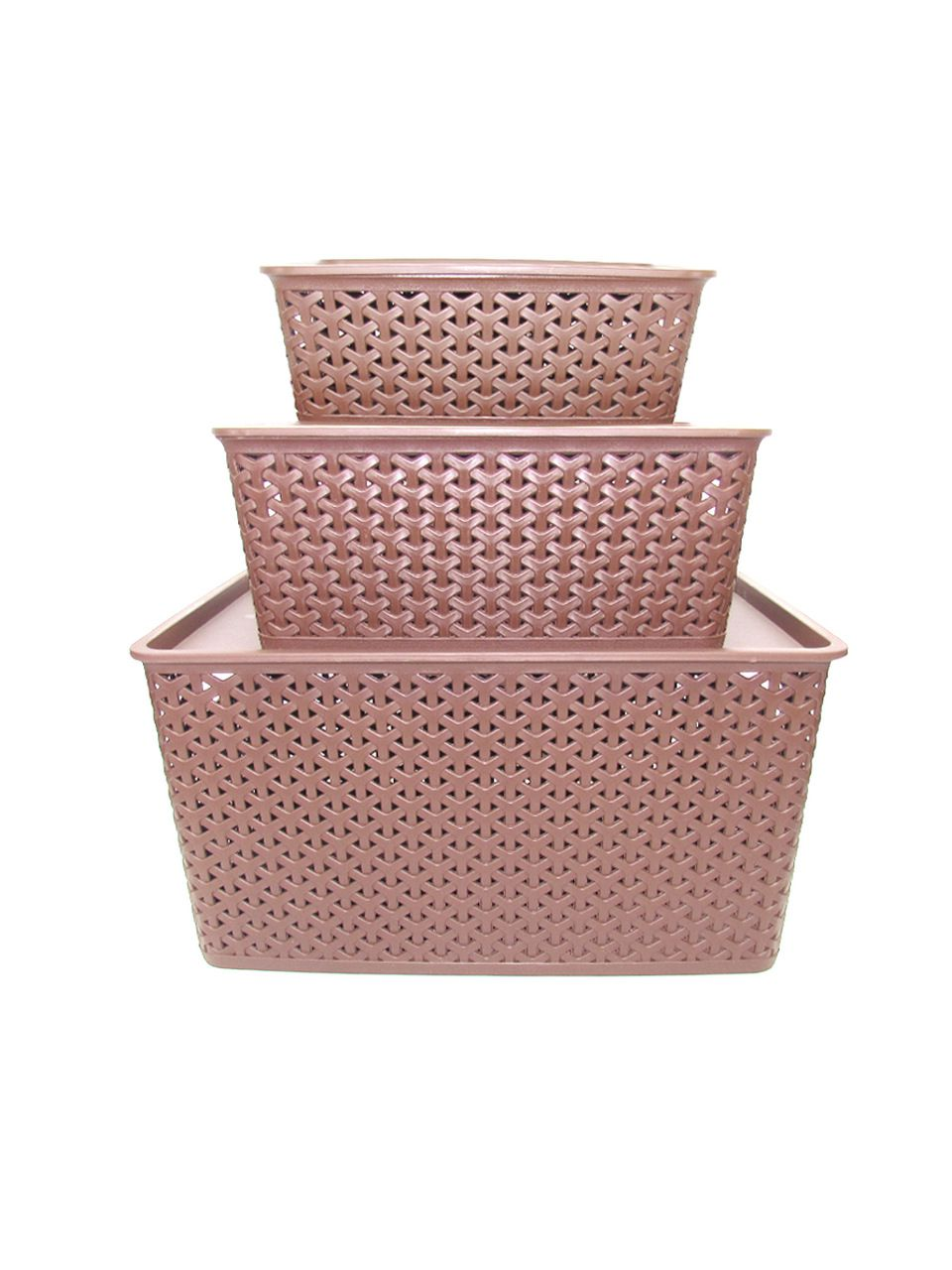 Conjunto Caixa Organizadora Rattan 3 Tamanhos