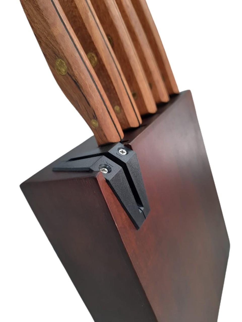 Conjunto de 5 Facas Hanzzo Wood com Cepo de Madeira
