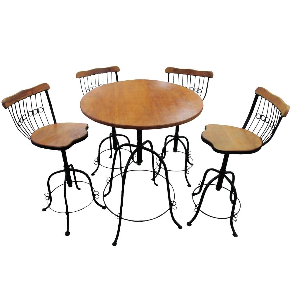 Conjunto de Mesa com 4 Banquetas em Ferro e Madeira de Demolição