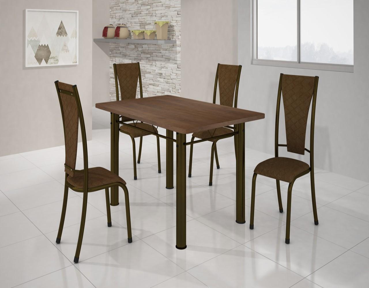 Conjunto Mesa Retangular com 4 Cadeiras BM Tubulares