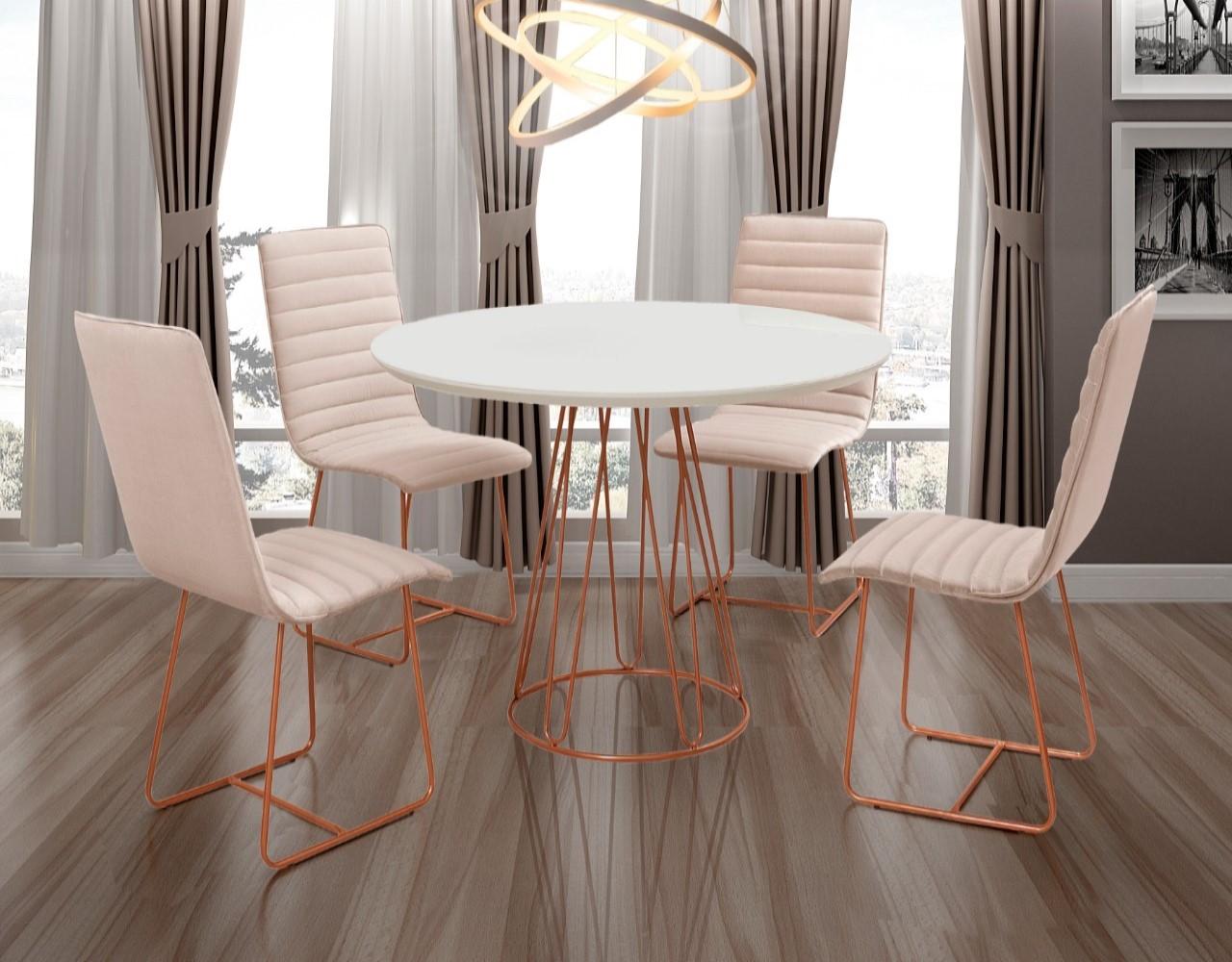 Conjunto Sala de Jantar Rubi Off White com 4 Cadeiras Estrutura Metal Cobre