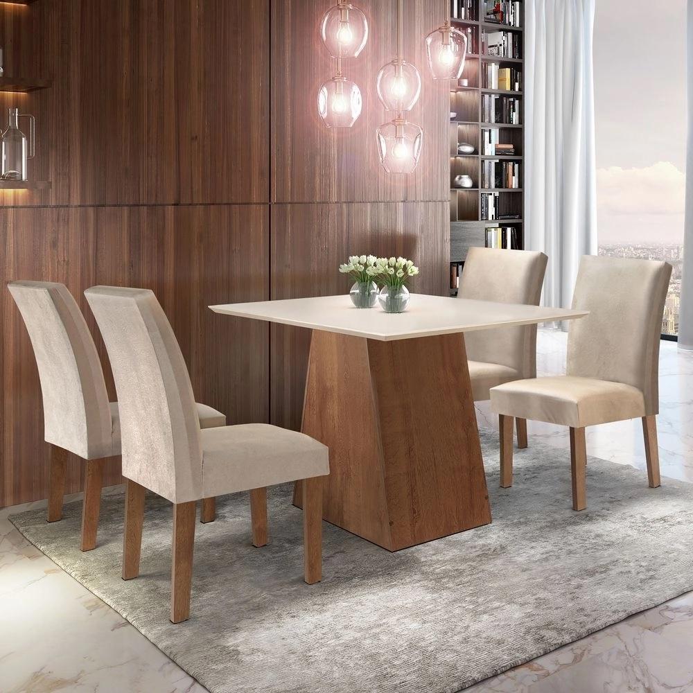 Conjunto Sala de Jantar Sevilha com 4  Cadeiras Classic Cel Móveis Chocolate