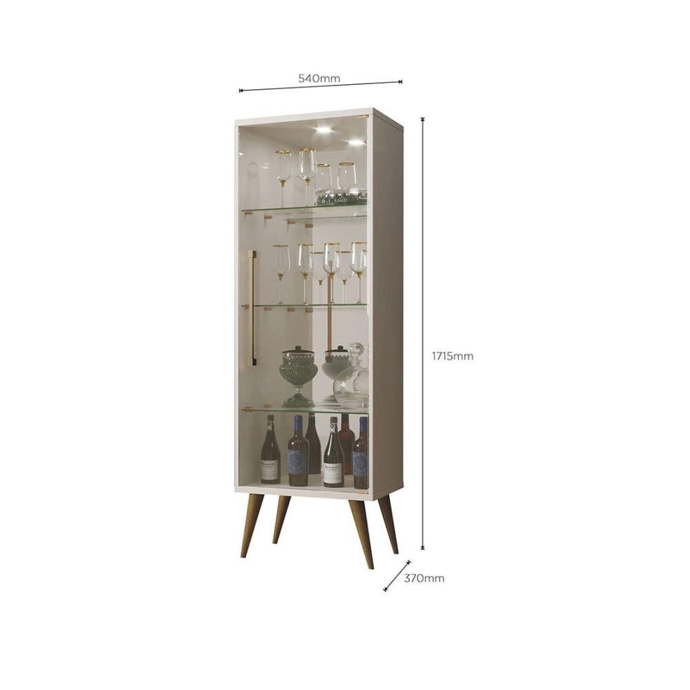 Cristaleira 1 Porta 3 Prateleiras Vidro Safira Mavaular Off White