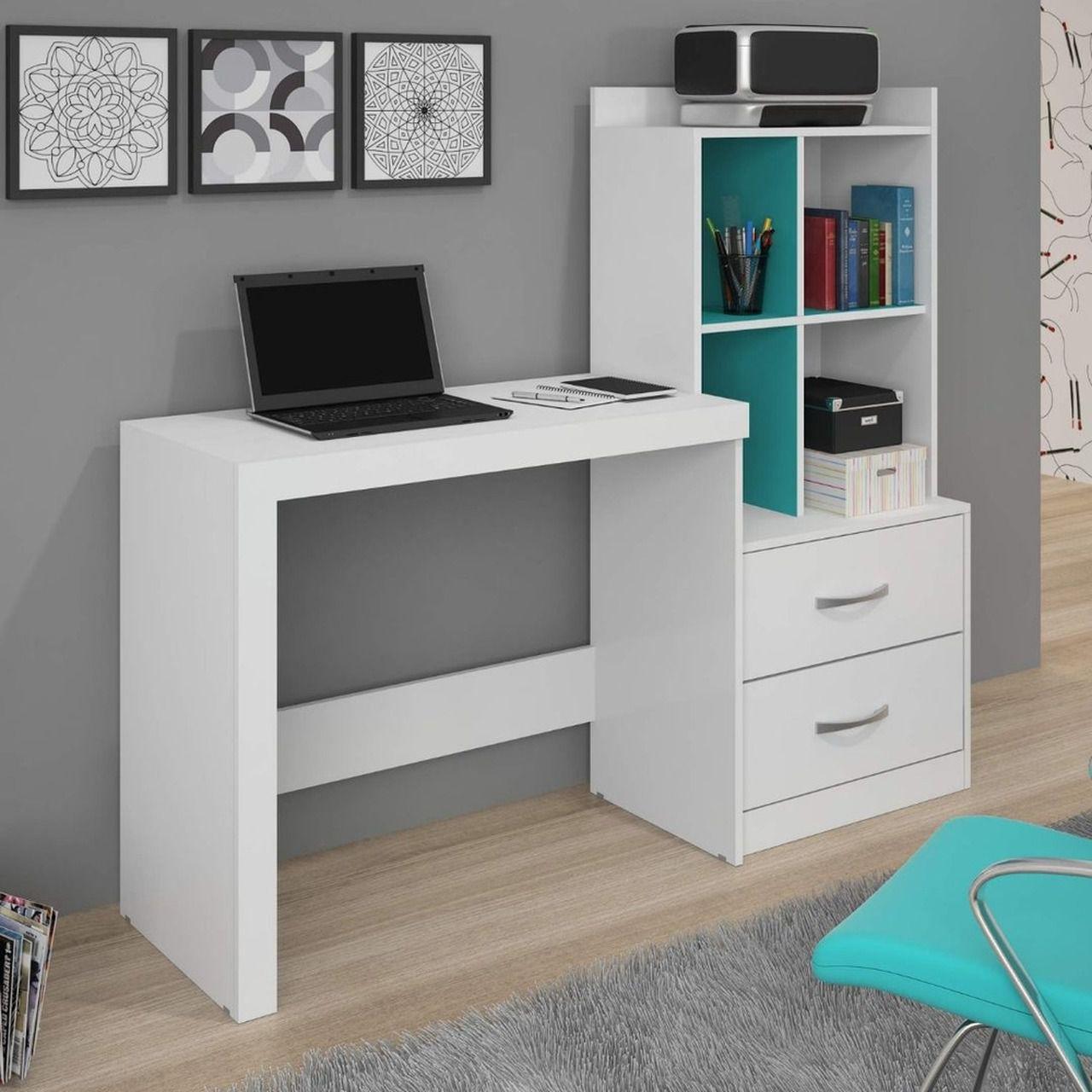 Escrivaninha com Estante Alana 2 Gavetas 4 Nichos JCM Móveis Branco Tiffany