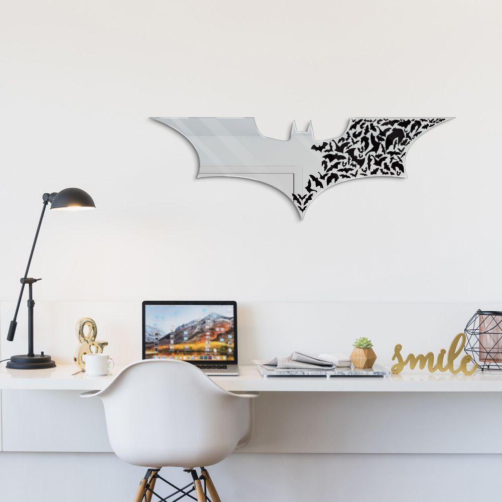 Espelho Decorativo Batman em Acrílico Espelhado 60x20 cm