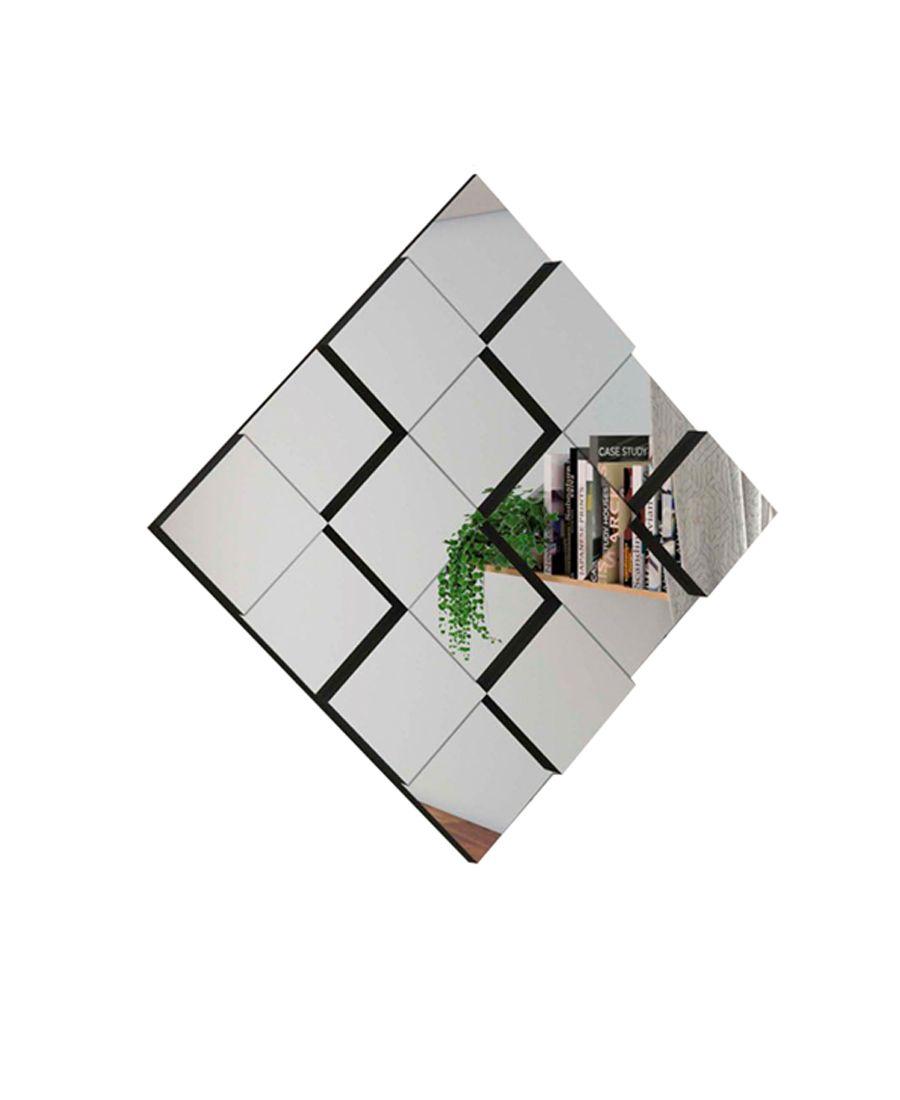 Quadro Espelho Decorativo Quadriculado 3D