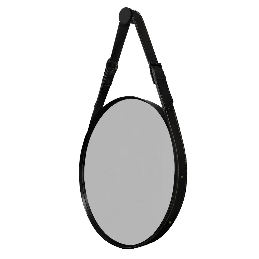 Espelho Decorativo Redondo com Moldura em Couro 45 cm