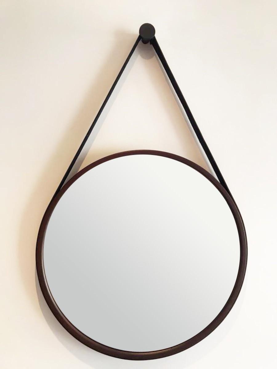 Espelho Redondo Decorativo com Moldura e Alça Preta