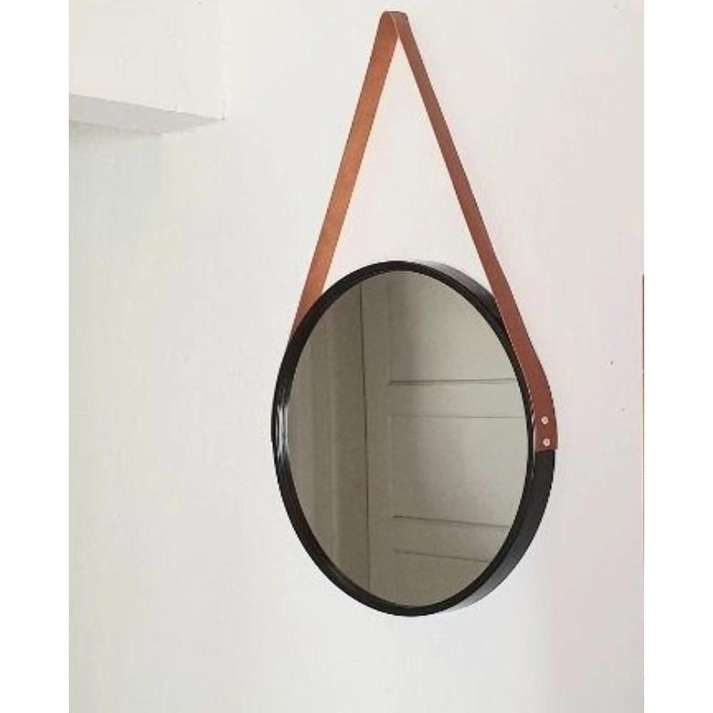 Espelho Redondo Decorativo com Moldura Preta e Alça Cobre