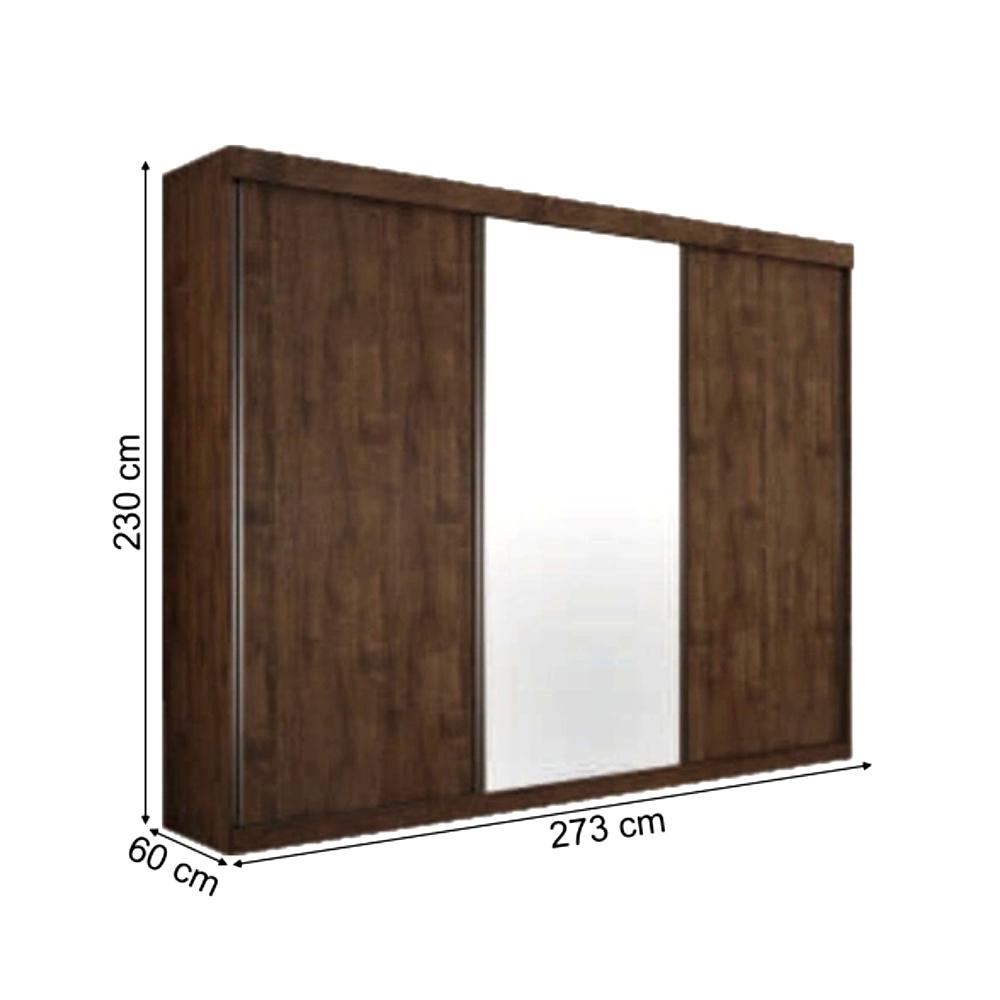 Guarda-Roupa Diamantina 3 Portas 1 Espelho Móveis Valverde