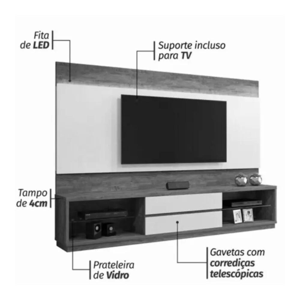 Home Estante TV até 65 Polegadas Istambul Mavaular Preto