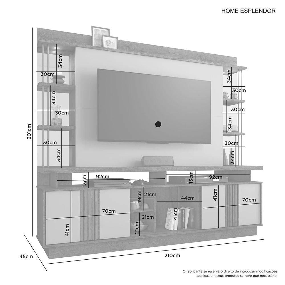 Home para TV até 65 Polegadas Esplendor JCM Móveis Cacau/Off White