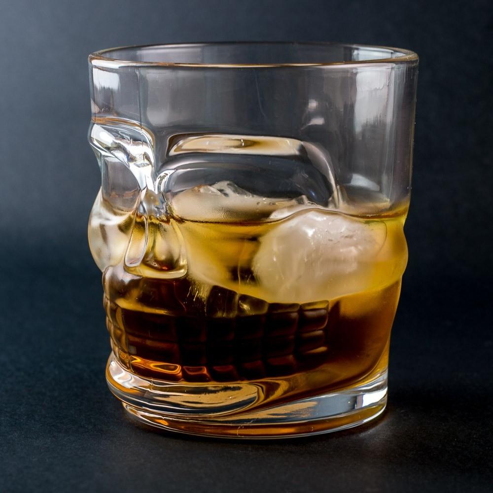 Jogo de 6 Copos Whisky Vidro Caveira 300 ml