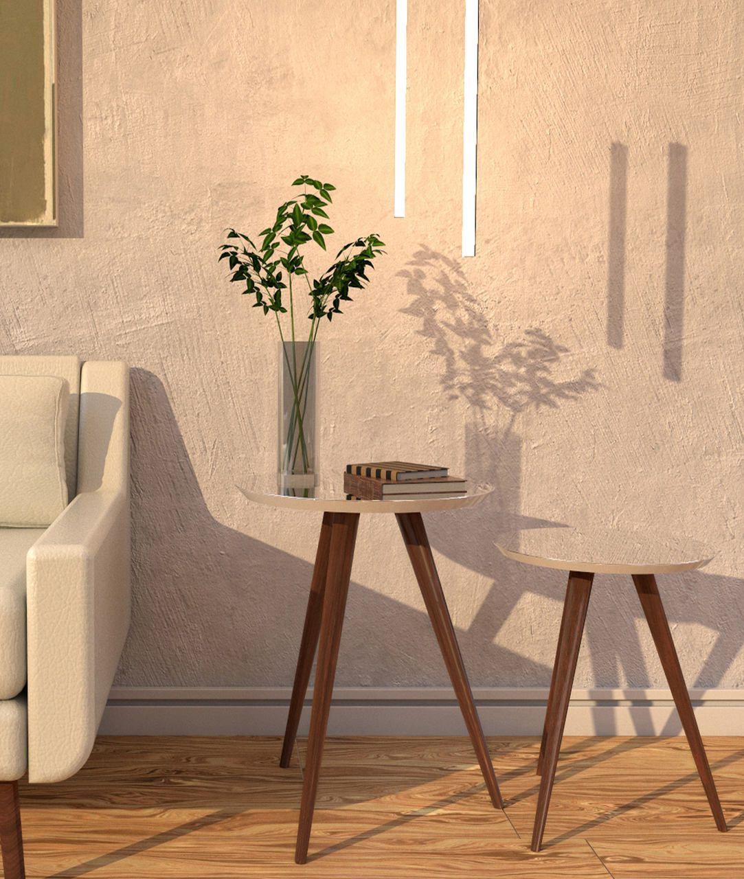 Jogo Mesa Lateral de Canto Pé Palito Espelhada Off White 50 e 40 cm