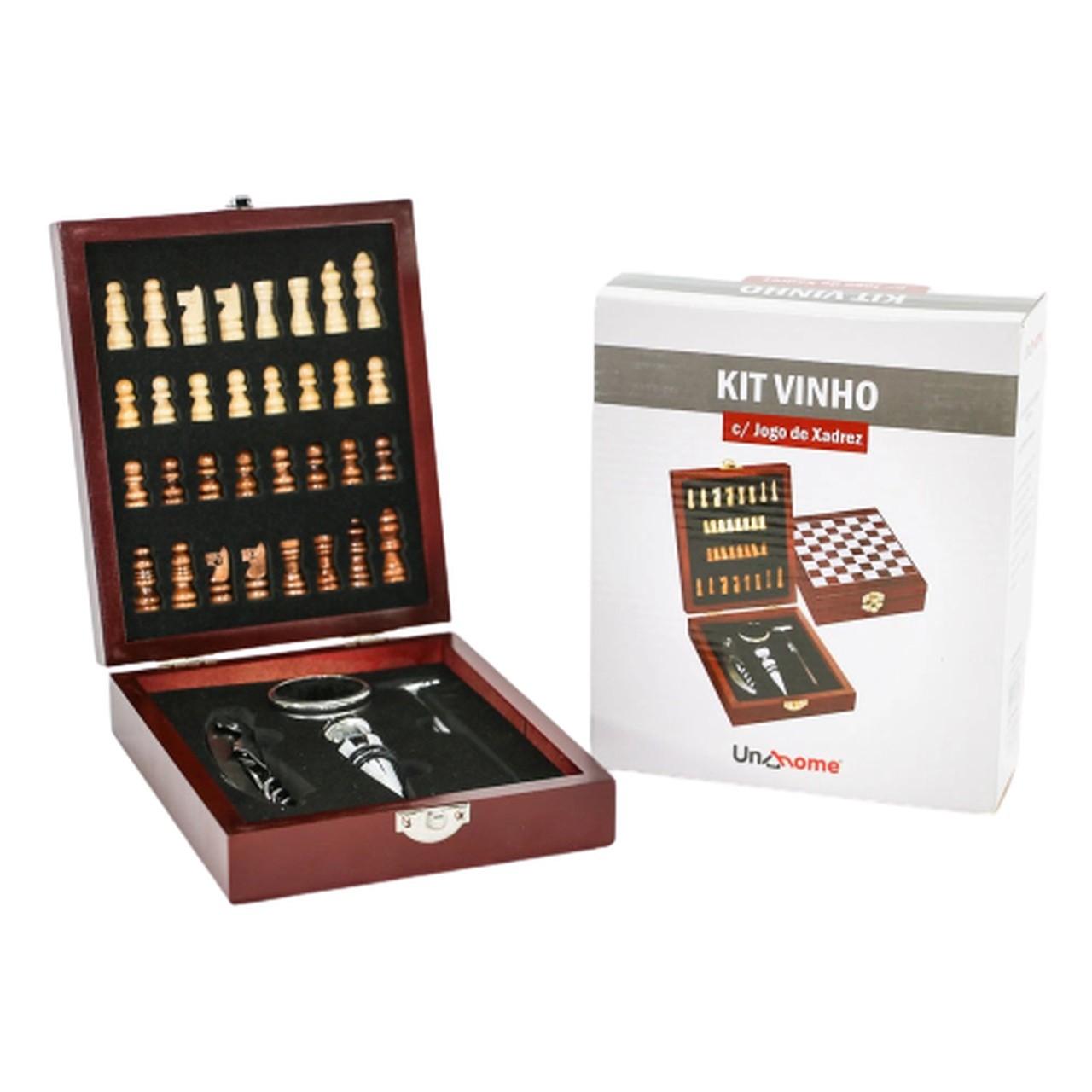 Kit Acessórios para Vinho 5 Peças com Jogo de Xadrez