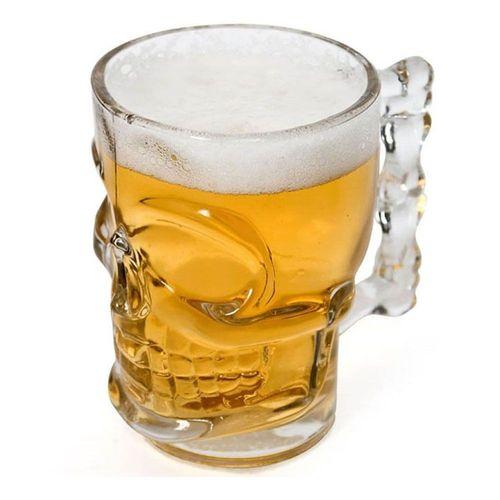 Kit Caneca Chopp Cerveja Vidro Caveira Rock 510 ml