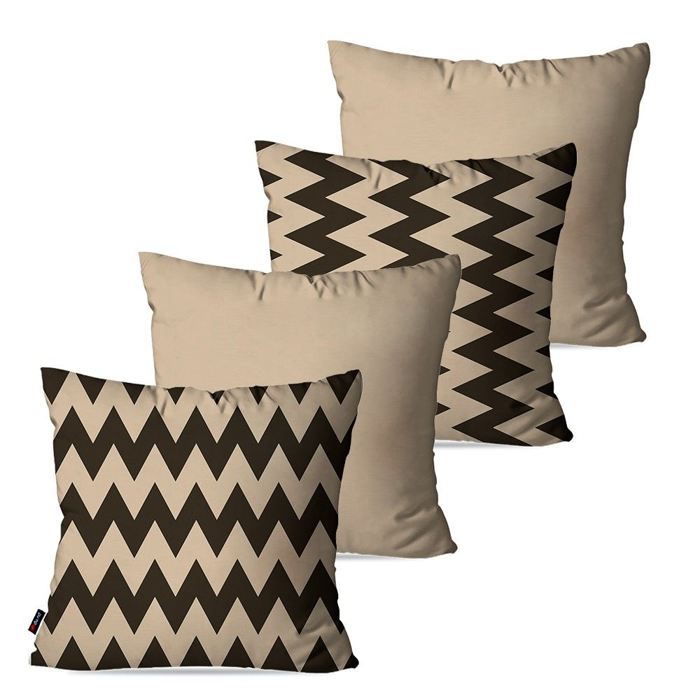 Kit com 4 Almofadas Decorativas Bege Chevron