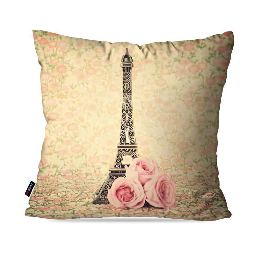 Kit com 4 Almofadas Decorativas Rosa Torre Eiffel