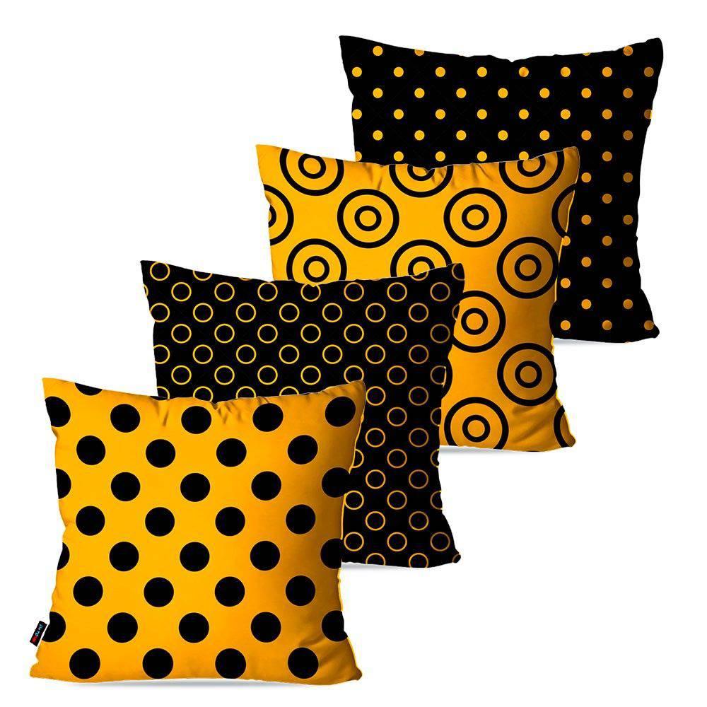 Kit com 4 Almofadas Decorativas Amarelo Poá