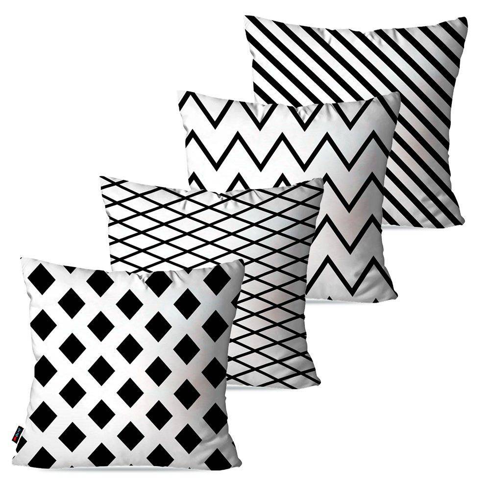 Kit com 4 Almofadas Decorativas Branco Geométrico