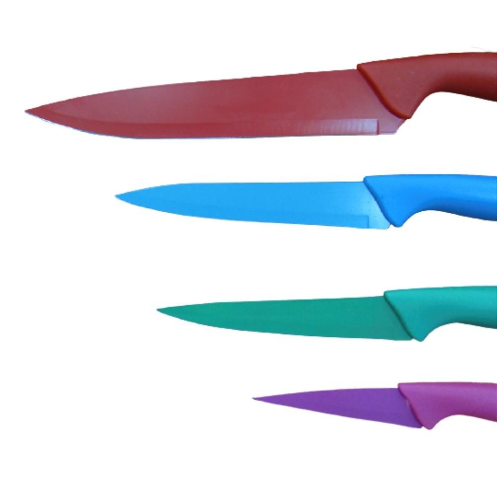 Kit com 4 Facas Inox Coloridas Fratelli