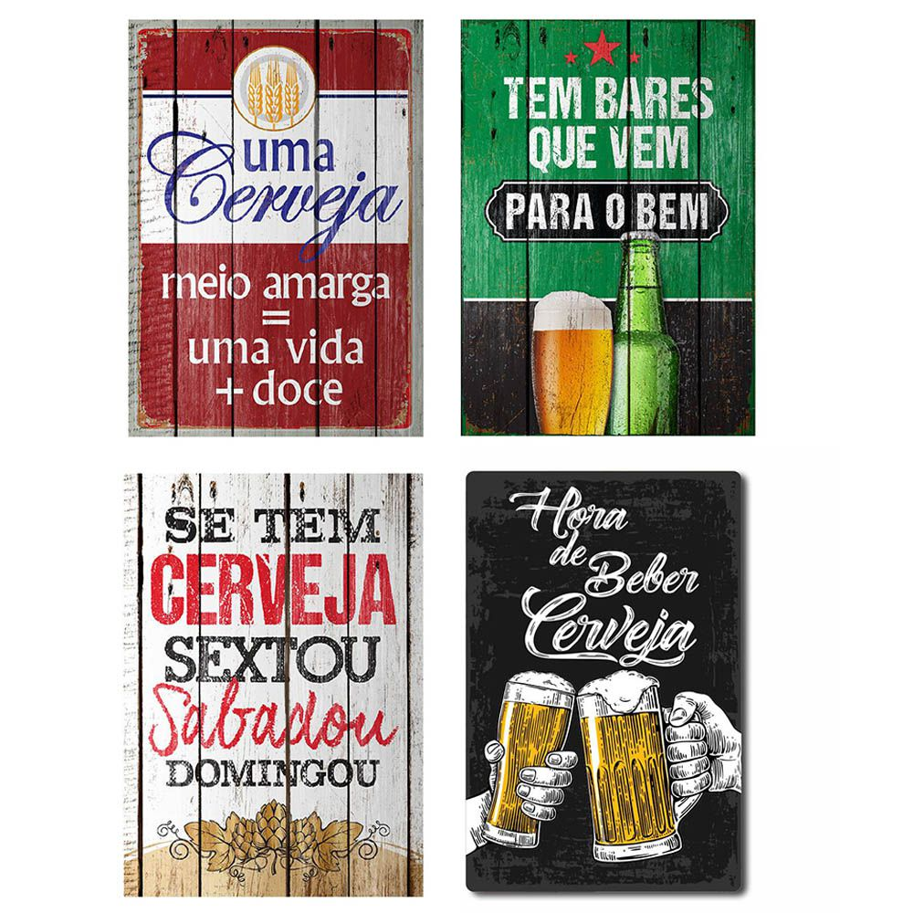 Kit com 4 Placas Decorativas Cervejas