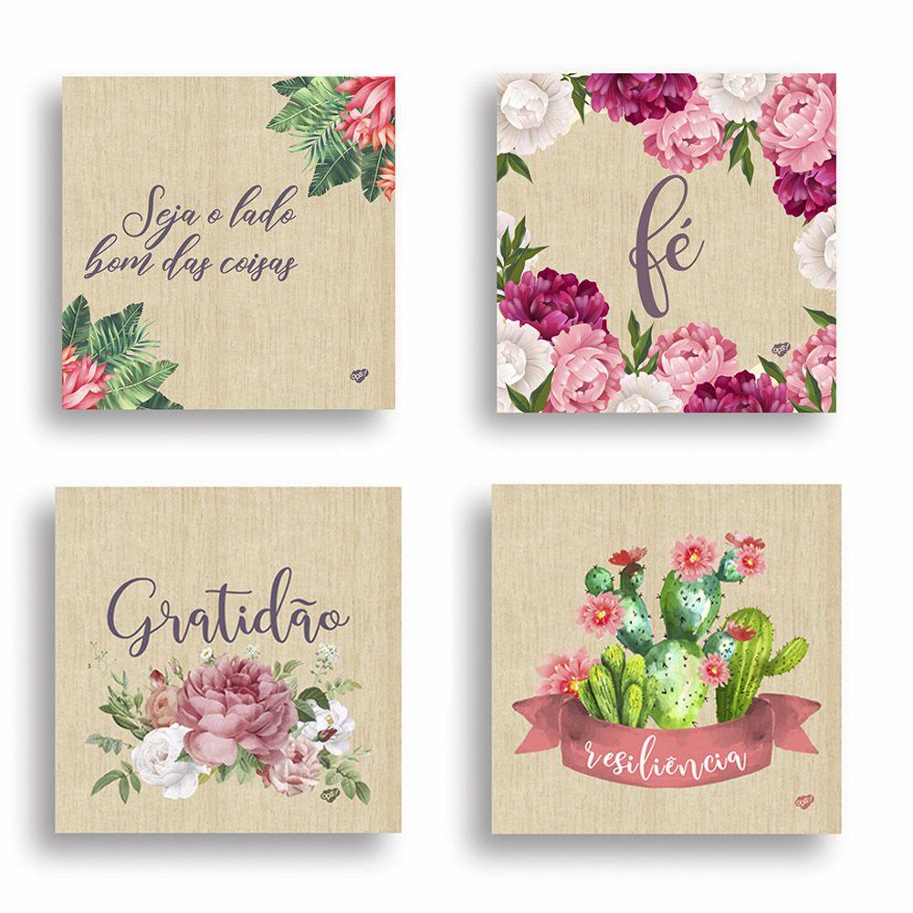 Kit com 4 Quadros Decorativos Floral 20x20 cm